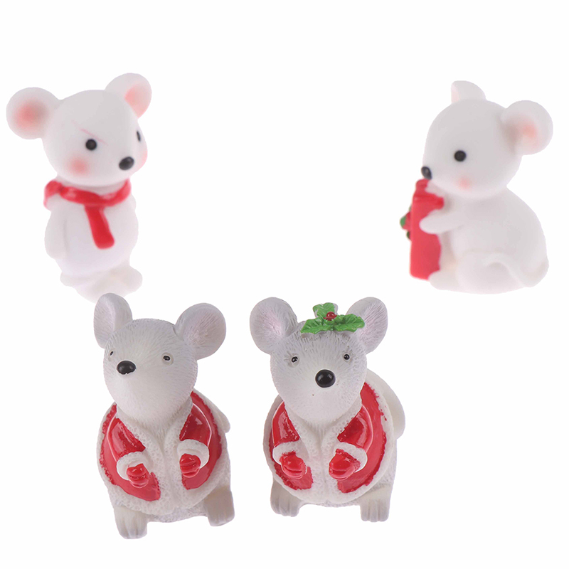1PCS New Year Christmas Snow Rat Little Mouse Gift Children Toy Decoration Small Statue Figurine Ornament Miniatures