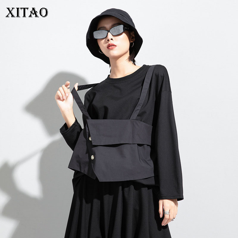 XITAO False Two Piece T Shirt Fashion New Women Fashion Pullover Pleated 2020 Autumn Pleated Full Sleeve Loose Tee Top XJ5347 1