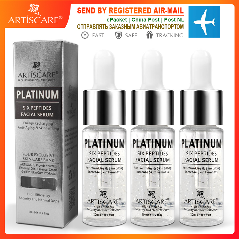 ARTISCARE Platinum Six Peptides Serum For Face 20ml Anti Wrinkles Ageing Hyaluronic Acid Essence Whitening Facial Skin Care 3PCS