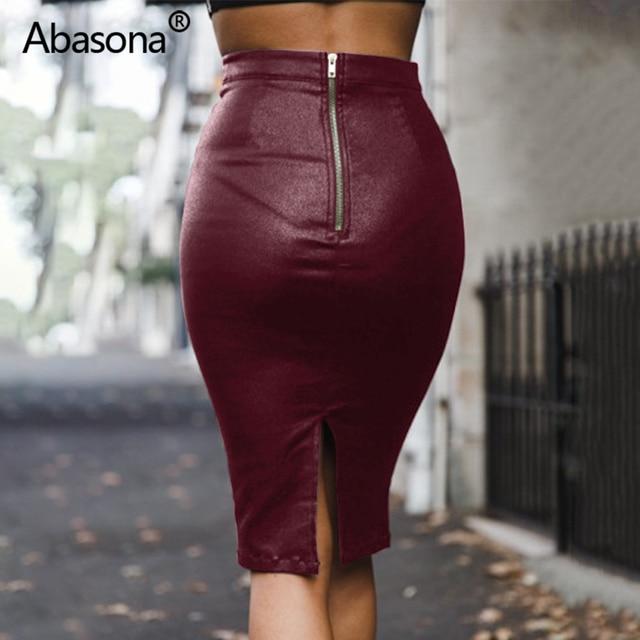 Abasona Velvet High Waist Long Pu Faux Leather Pencil Skirt Zip Split Knee Length Sexy Bodycon Midi Skirts Casual Spring Summer 2