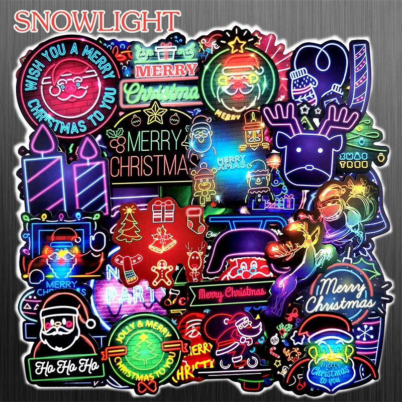 50 Pcs/lot Neon Style Merry Christmas Stickers For Luggage Laptop Skateboard Sticker Motorcycle Fridge JDM Graffiti Stickers