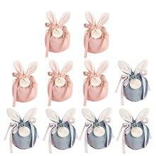5 uds regalo de Pascua bolsa Bunny oído dulces bolsa de embalaje boda favores galletas merienda para hornear paquete y evento suministros para fiesta