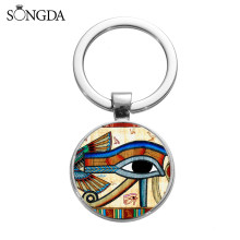 SONGDA Ancient Egyptian God Horus Eye Keychain Ankh Anubis Third Eye Printed Glass Gem Key Ring Chain Bag Pendant Amulet Trinket(China)