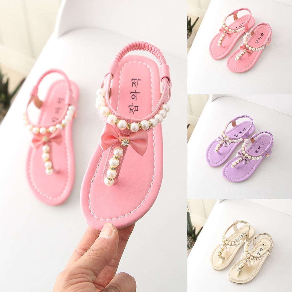 MUQGEW 2019 Summer Fashion Children Baby Girl Slip-On Butterfly-knot Bowknot Rubber Sandals Pearl Princess Thong Sandals Shoes