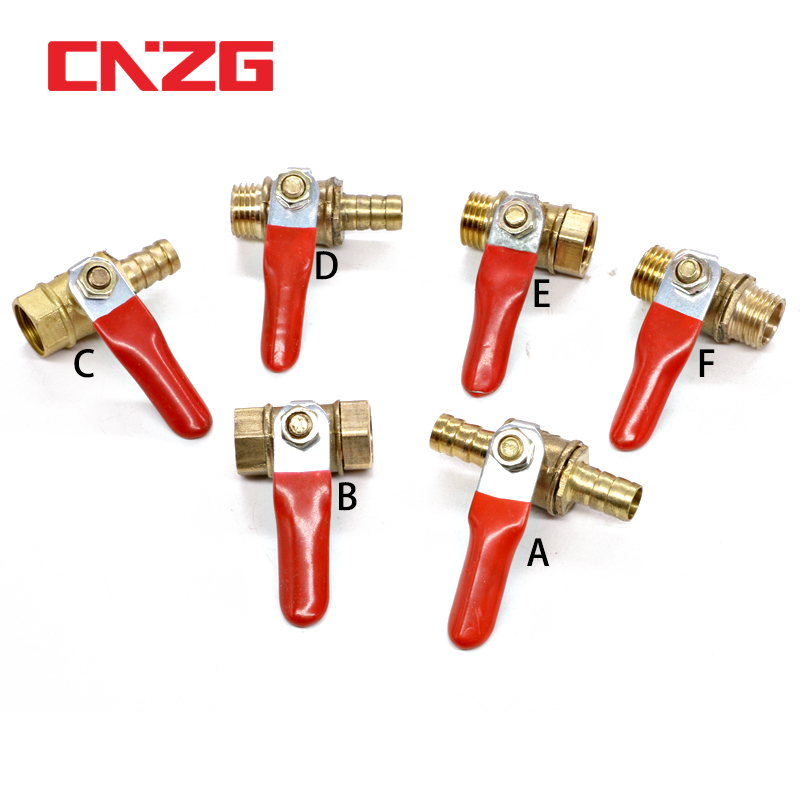 Brass Water Oil Air Gas Fuel Line Shutoff Ball Valve Pipe Fittings Pneumatic Connector Controller Handle 6-12MM Hose Barb Inline