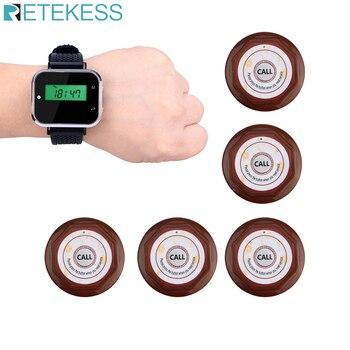 Sistema de llamada de camarero Mesa llamada campana buscapersonas restaurante café sistema de pedido 1 reloj RECEPTOR + 5 botón de llamada Servicio al Cliente