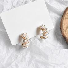 Женские винтажные серьги гвоздики с искусственным жемчугом подарочные