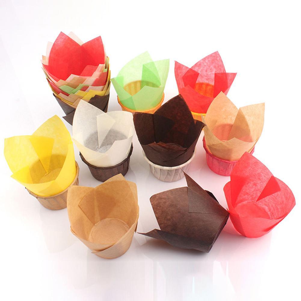 Gobelet à gâteaux tulipes 50 pièces   Résistant à lhuile, moule de Cupcake, porte-papier, outil de cuisson de gâteaux, résistant à lhuile, antiadhésif, à la chaleur