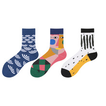 New Socks For Men Abstract Design Personality Cartoon 11 Patterns Colorful Anti-Friction Breathable Cotton Middle Tube Socks