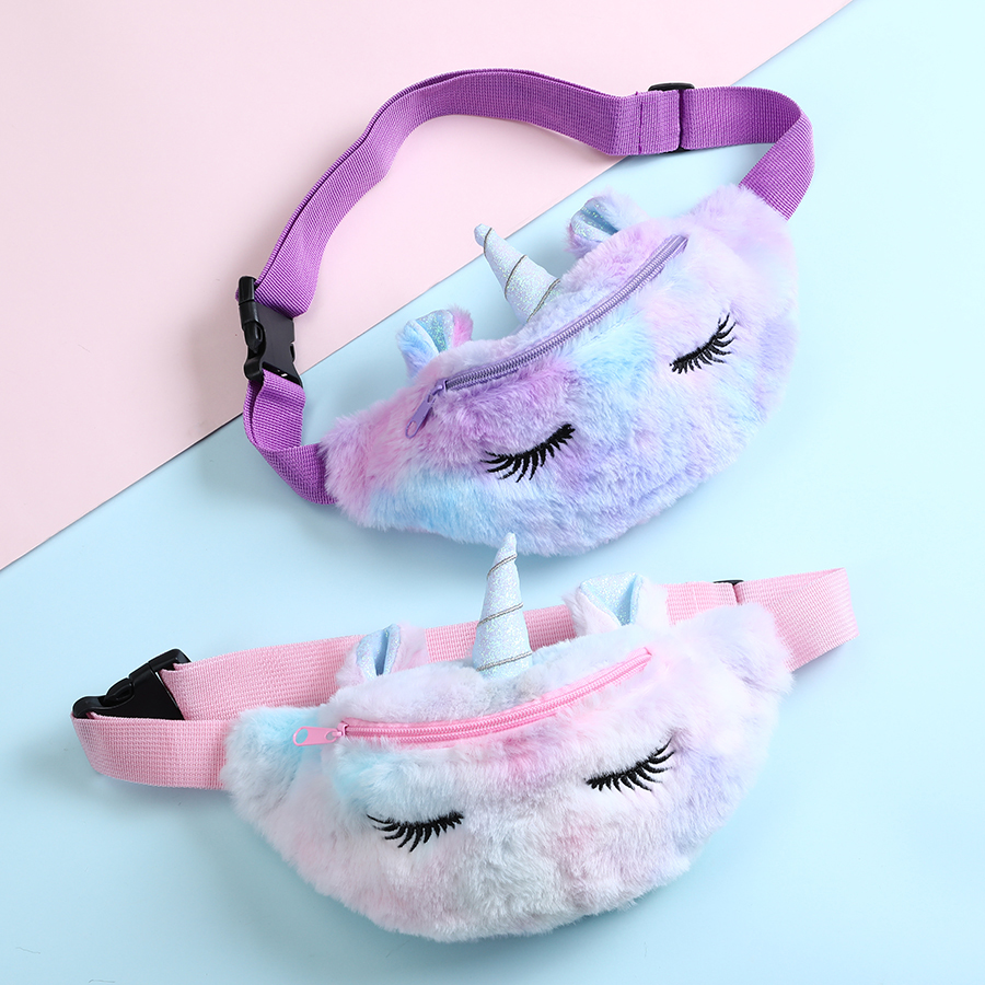 Unicorn Design Handbag For Children Fashion Fanny Pack girl Wasit Belt Bags Winter Fur Sac Christmas Girls Gift Bag