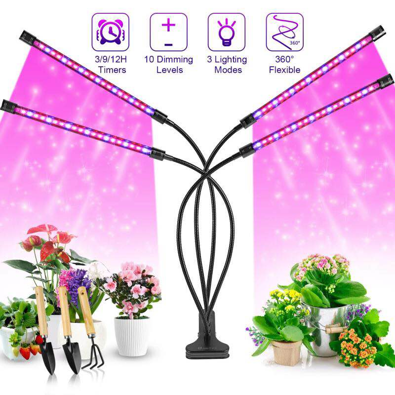 LED Grow Light Full Spectrum Flexible Timing Dimmable Clip Phyto Lamp 4 Heads Grow Lamp For Plants Seedlings Indoor Growth Lamps