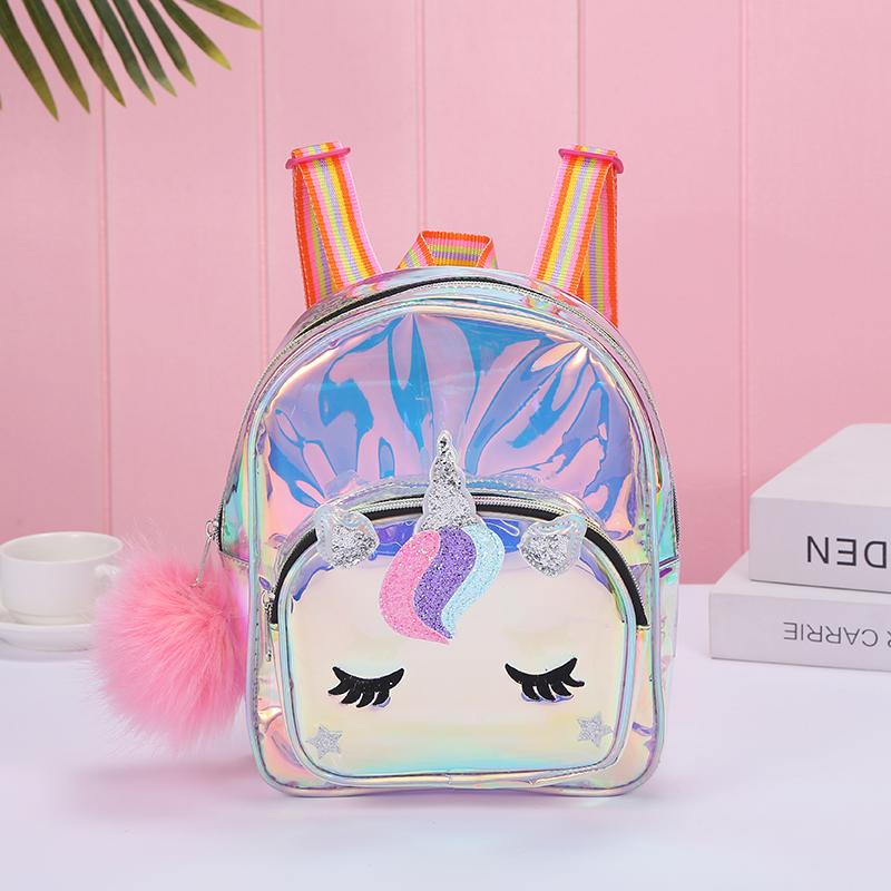 Cartoon Rainbow Unicorn Transparent Backpack For Children Plush Kindergarten Small SchoolBag Girls  School Bags Mini Backpack