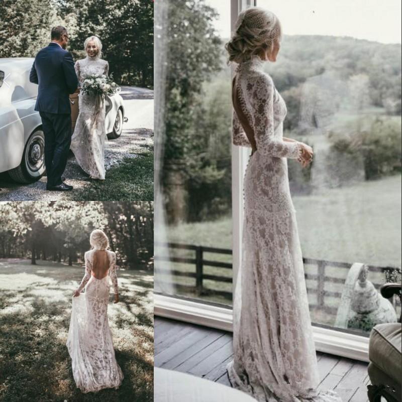 Lace Wedding Dresses Ivory White Bohemian Long Sleeve Sheath Bridal Gown Custom