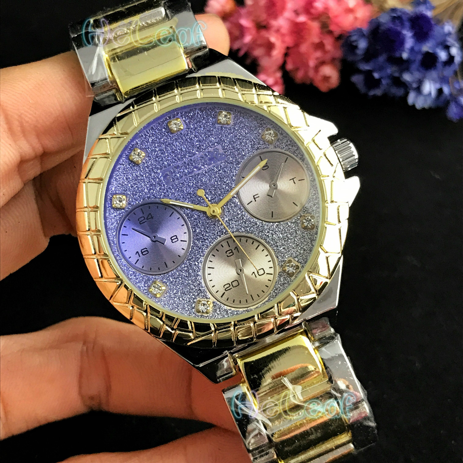 Fashion Women Watches Silver Gold Stainless Steel Band Colour Diamond Quartz Watch Female Girls Clock MontreFemme Reloj Mujer