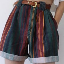 Mulheres vintage listrado shorts pant senhora cintura alta friso fino curto pant menina streetwear feminino listra students moda curto