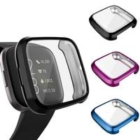 Custodia protettiva per schermo per Fitbit Versa Lite / Versa / Versa 2 Cover morbida cornice protettiva placcata in TPU Smart watch Bumper Shell