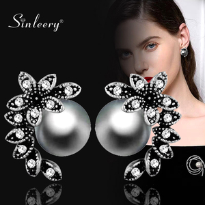 SINLEERY Hot Fashion Gray White Pearl Earrings Stud Antique Silver Color Zircon Leaf Shape Jewelry For Women Girl Es525 SSC(China)