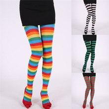 Chaussettes pour femmes, longues rayures, imprimé, pour déguisement, accessoire de déguisement amusant, collants pour Halloween et noël