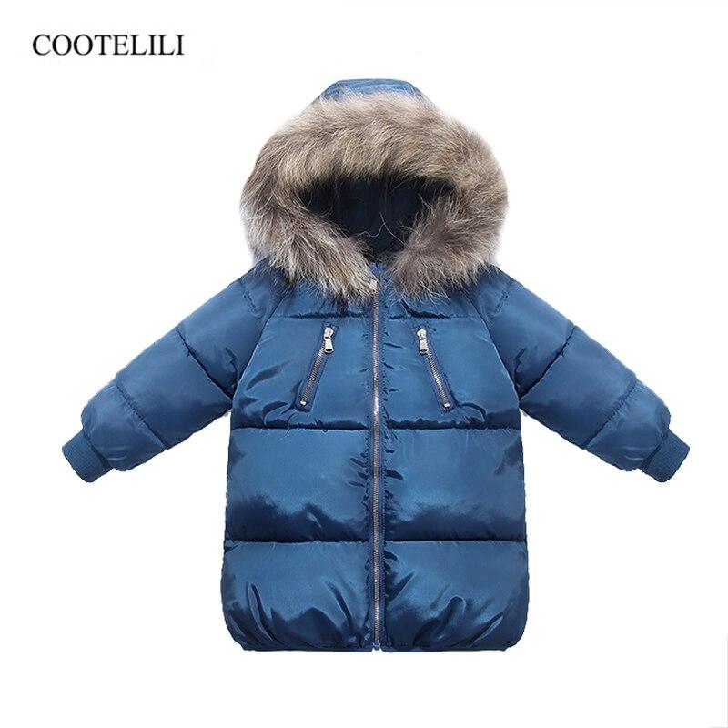 Зимняя хлопковая куртка COOTELILI для мальчиков и девочек с шапкой из натурального меха енота, зимнее пальто для мальчиков, длинная Стильная Дет...