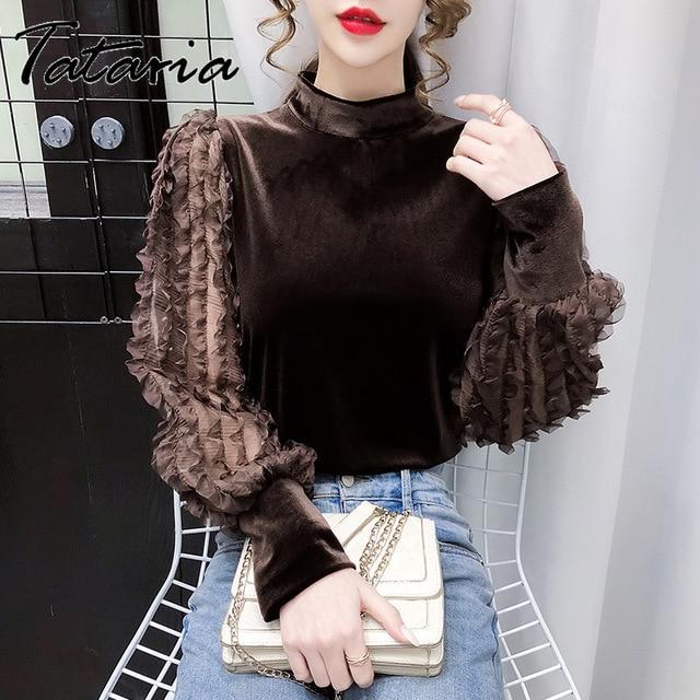Women Tops And Blouses With Lace Vintage Women Golden Velvet Lantern Long Sleeve Shirt Elegant streetwear Fashion tops spring 1