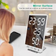 6 Inch Led Spiegel Wekker Touch Knop Muur Digitale Klok Tijd Temperatuur Vochtigheid Display Usb-uitgang Tafel Klok