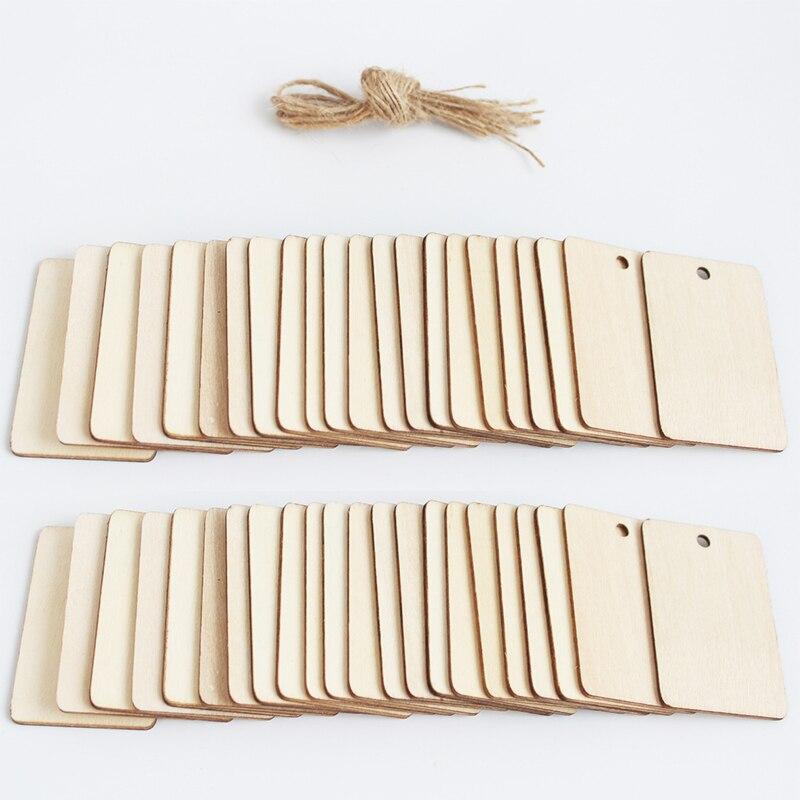 Незавершенный характер древесины ломтик подарочные Пустые бирки прямоугольная деревянная подвесная этикетка с отделкой из пеньковой вере...