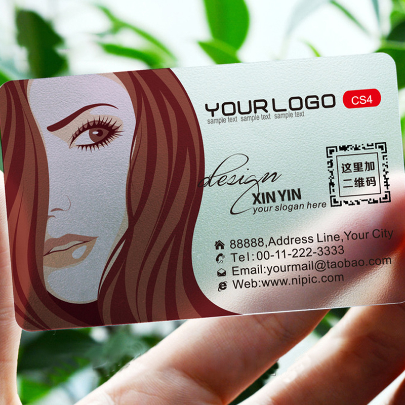 100pcs/200pcs/500pcs/lot custom Transparent PVC visit cards Customized clear/frost Business Card printing 1