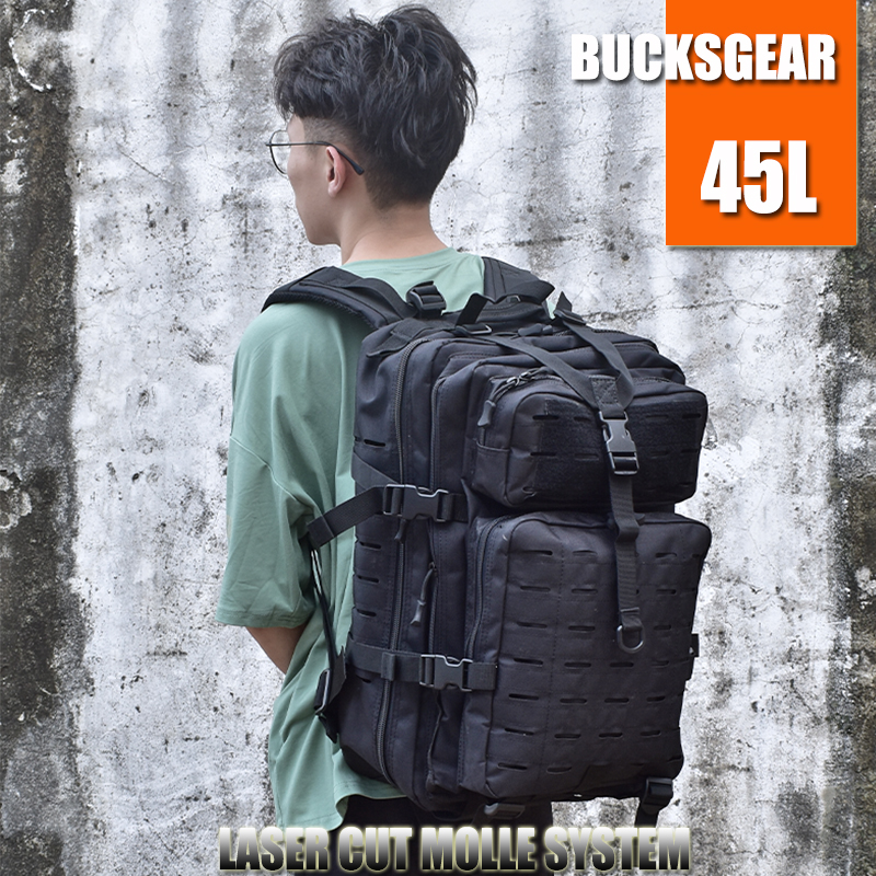 BUCKSGEAR 45L laser cut molle system big storage tactical backpack outdoor camping rucksack army fans military assault bag pack