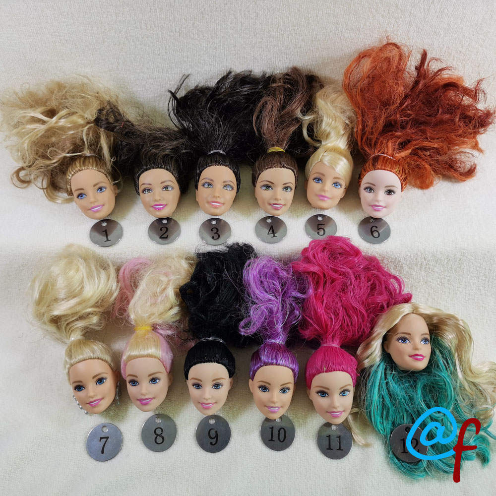 B20-12 Original Foreign Trade European Beauty1/6 OOAK NUDE Doll Head Mussed Hair For DIY Soft PVC Head  90%NEW