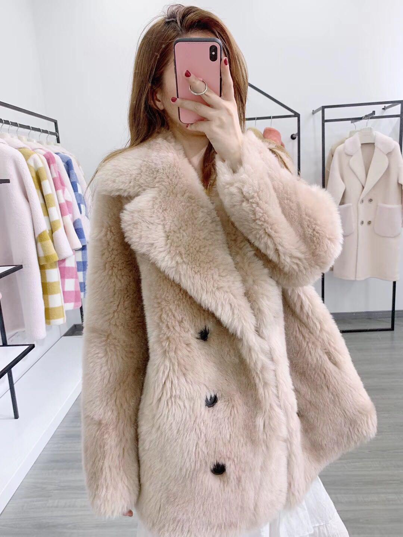 Rf1933 100% Wool Fur Coat Women Shearling Jacket Long Sleeve Faux Suede Lining Lady's Fur Jacket Super Cheap