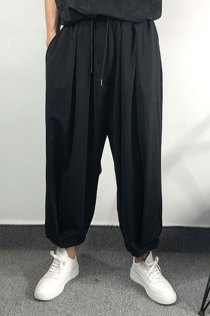 Owen Seak Men Casual Cross Pants Skirt High Street Wear Dark Ankle Length Pants Men Japanese Sweatpants Spring Harem Black Pants 6