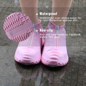 Image 3 - 2020春のファッション再利用可能な靴カバー防水ジッパーカバー靴男性/女性雨靴カバー防水