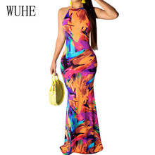 WUHE Sexy Sleeveless Hollow Out Vintage Floor-length Dress New Fashion Printed Bodycon Maxi Summer Boho Beach Party Wear