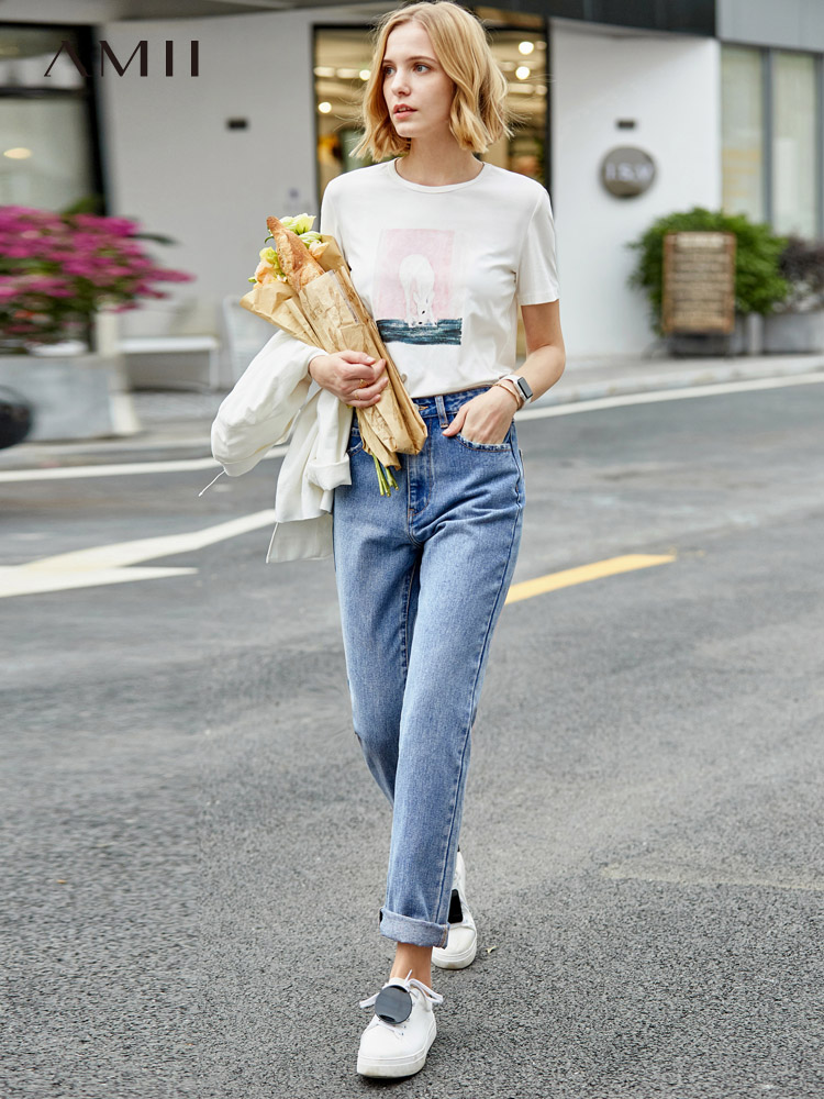 Amii Spring Simple Retro Style Straight Blue Jeans Women's New High Waist Loose And Slim Casual Pants