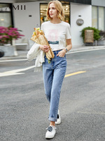 Retro Style Straight Blue Jeans High Waist Loose And Slim Casual Pants
