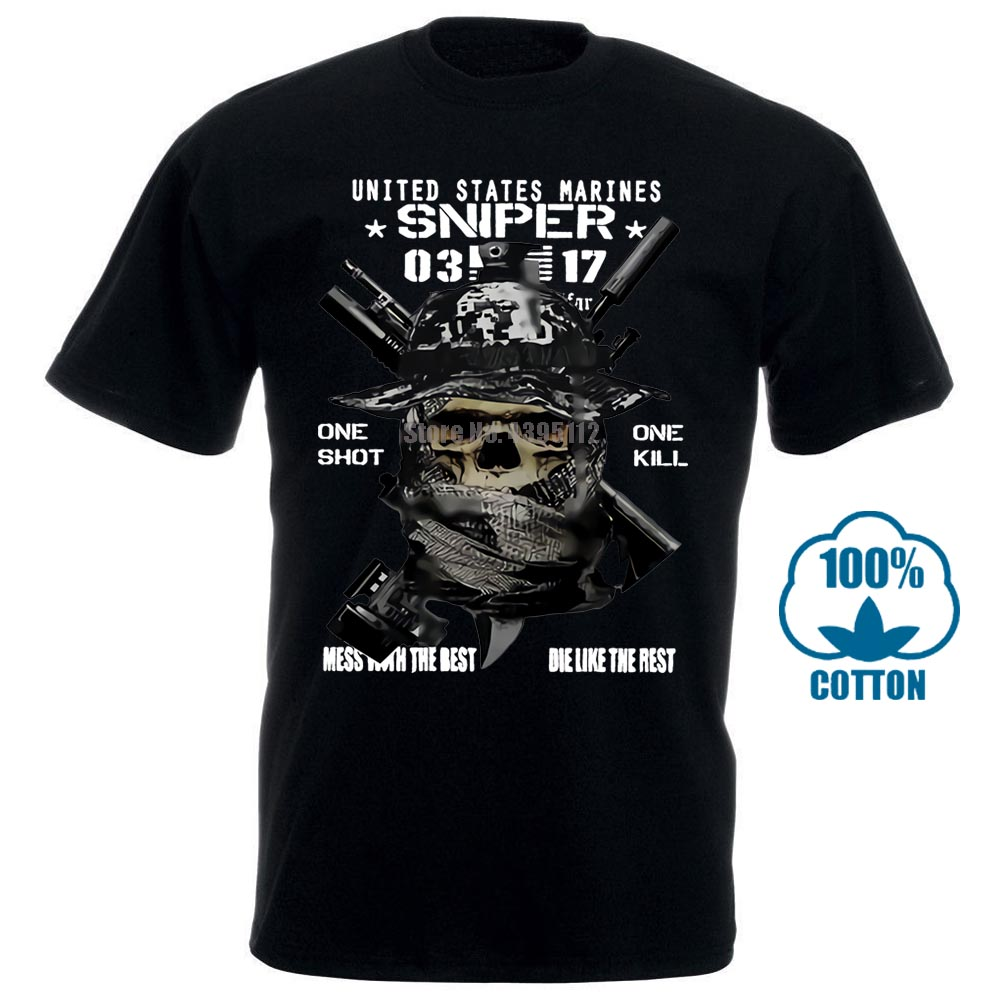 Usmc Scout Sniper T Shirt Mos 0317 Death From Afar Us Marines One Shot One Kill