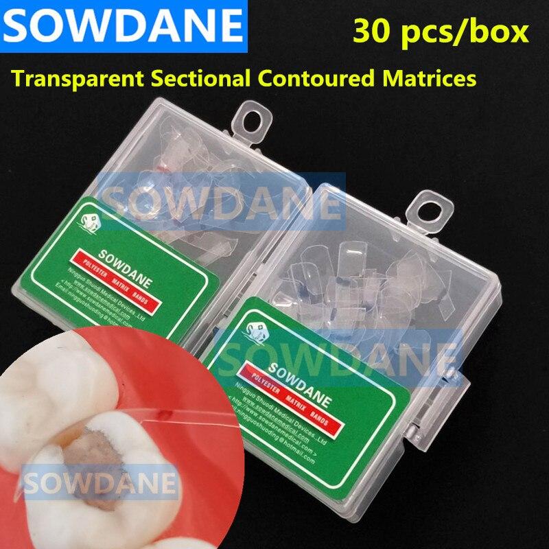 30 Pcs/box Dental Transparent Sectional Contoured Matrices Matrix Polyester Matrice 30 Pcs Wide + 30 Pcs Narrow