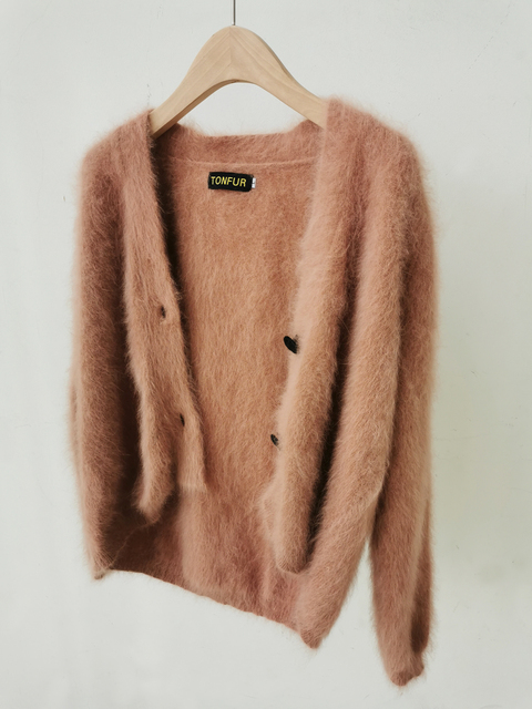 100% Real Mink Cashmere Sweaters Women New Basic Button Customize Big Size Factory Natural Mink Cashmere Cardigans tsr879 1