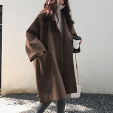 цена на Fashion Women Pocket Long Sleeve Cardigan Loose Sweater Tops Trench Coat oversized coat пальто оверсайз пальто женское Y10.7