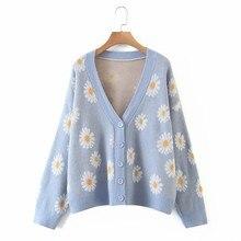 Cardigan à manches longues et col en V pour femme, manteau en tricot, ample, Floral, doux, à boutons, collection automne et printemps