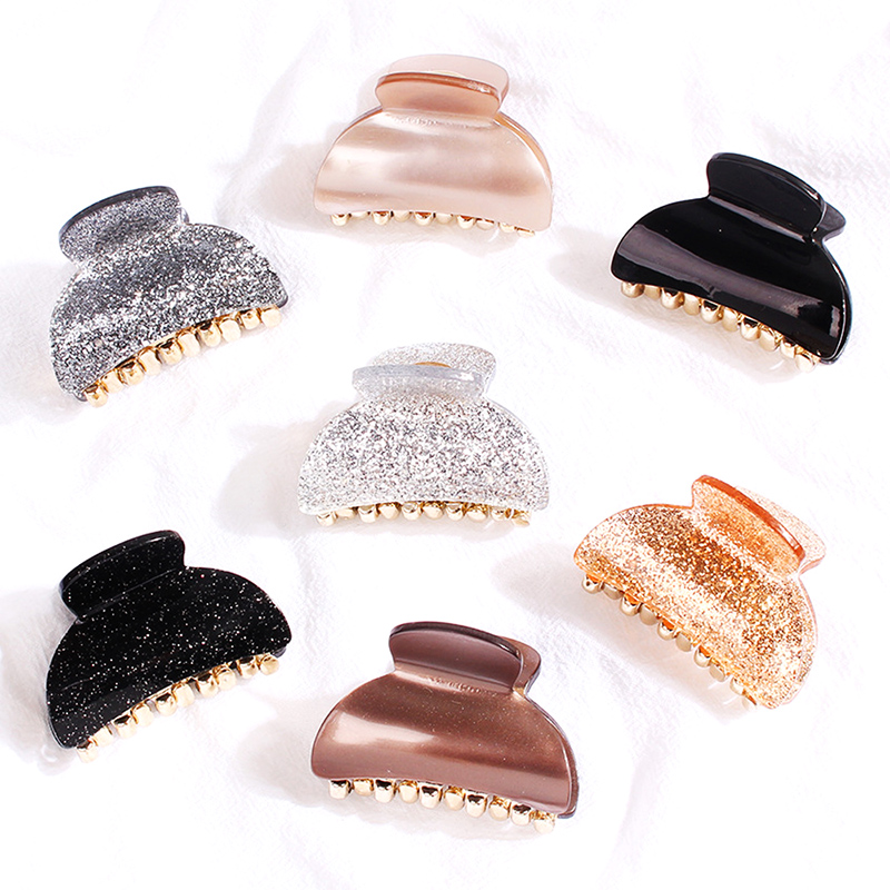 2020 Solid Acetic Aced Hair Claw For Women Gold Power Acrylic Gold Hair Clamp For Pony Tail Small Size Crab For Hair Accessories