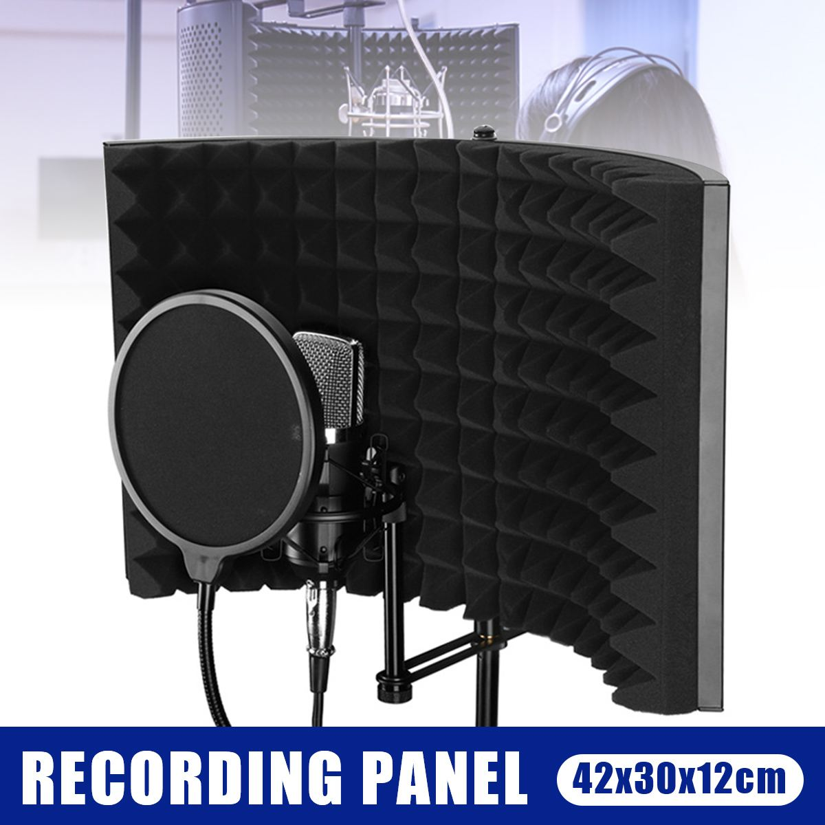 Aluminum Foldable Isolation Shield Sound Absorber Foam Shield Vocal Booth Recording Panel Studio Soundproof Sponge