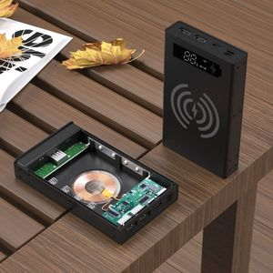 Image 5 - איחה בשילוב DIY 18650 סוללה מקרה טעינה אלחוטי כוח בנק פגז נייד חיצוני תיבת Powerbank מגן LCD תצוגה