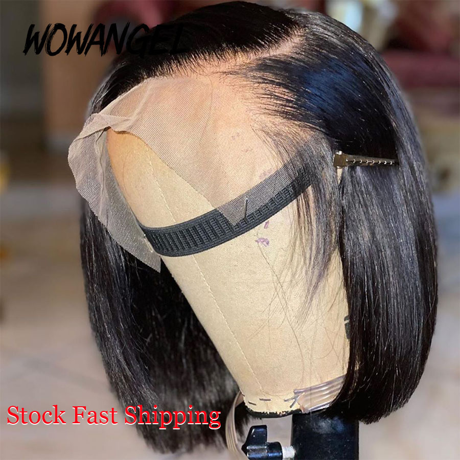 WOWANGEL Lace Front Human Hair Wigs Short Bob Wigs For Black Women Natural Hairline Preplucked Hairline Bleached Knots