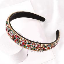 Multicolore brillant cristal strass bandeau large côté antidérapant Turban femmes maquillage lavage visage cheveux cerceau fête cheveux accessoires