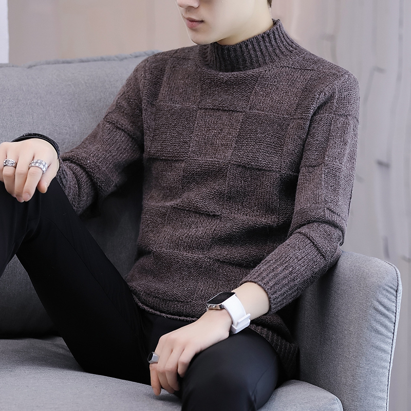 LEFT ROM Cashmere Sweater Men Brand Clothing Men Sweaters Pure color Casual knit Shirt Autumn Wool Pullover Man High collar XXXL