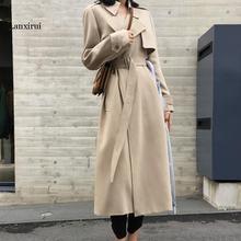 Spring Autumn Maxi Long Women's Loose Trench Coat With Belt Khaki & Black Plus S