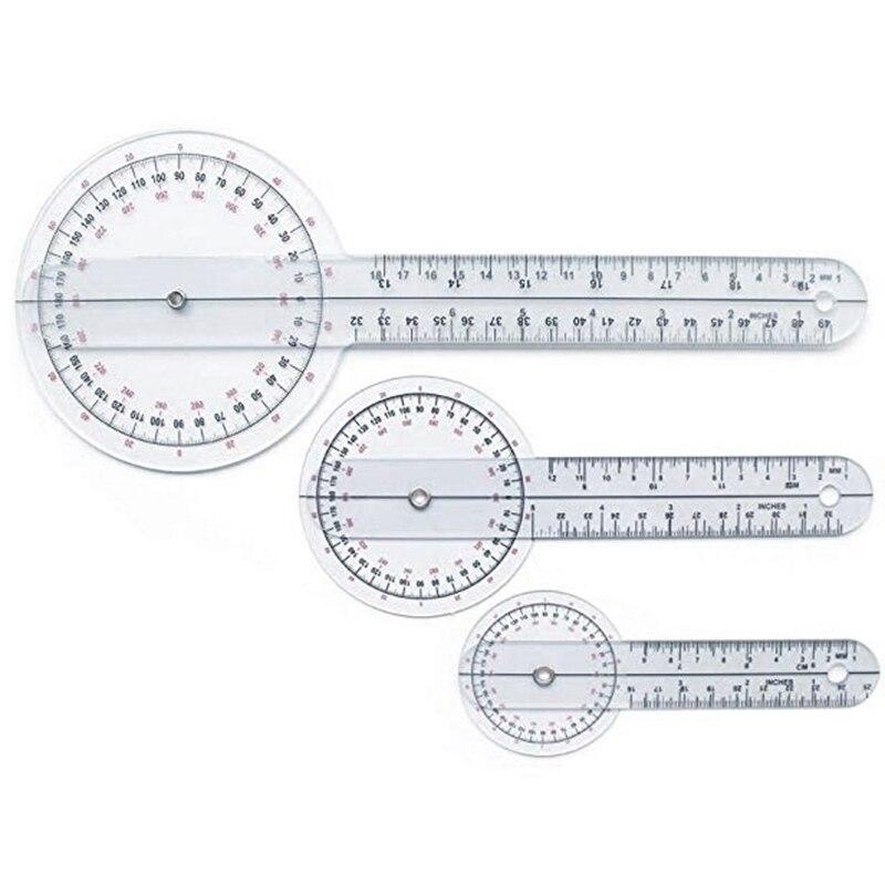 3Pcs/Set Spinals Goniometer Protractors Userful Multi-Ruler Goniometer Angle Medical Spinal Ruler 360 Degree 180 Degree