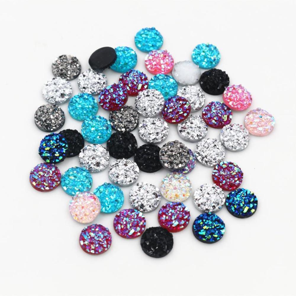 New Fashion 40pcs 8mm Mix Color Natural Stone Shape Series Flat Back Resin Cabochons Cameo