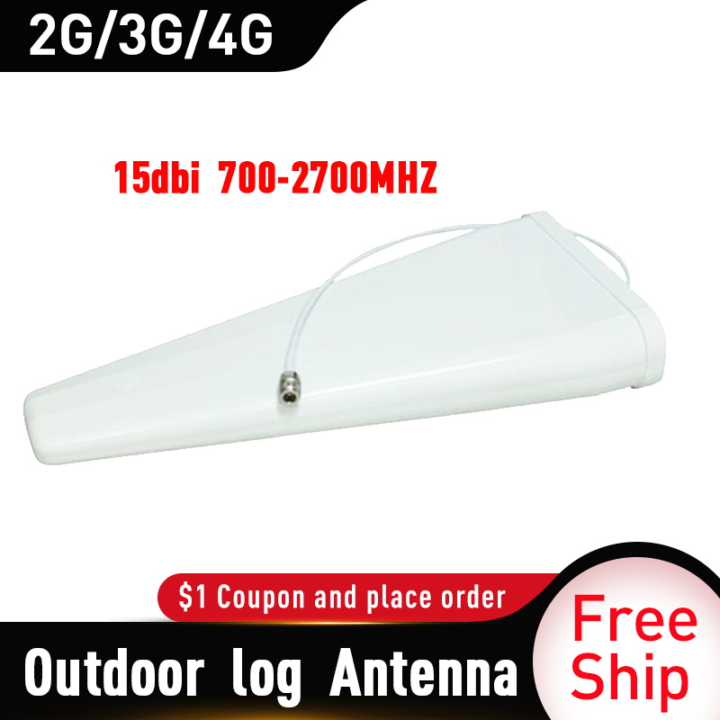 700-2700MHz 15dBi Outdoor Log Periodic Antenna Signal Boosters 2G 3G 4G Antenna For Mobile Signal Repeater External 4G Antenna